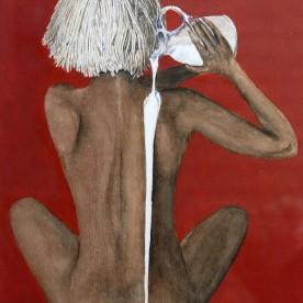 Vrouw met zwabber op d'r hoofd
