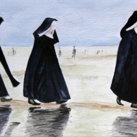 Nonnen op het strand