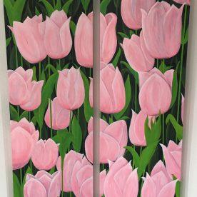 Roze Tulpen (2x 150h x 50b)