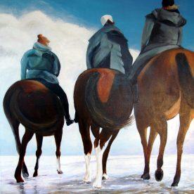 Paarden op het strand 104h x 84b